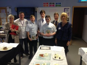 The winning students from Highcliffe school with Lesley Waters, Mary Reader and Malvern Jones.